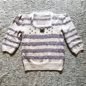 Vintage Kawaii Cream Striped Knit Feather Sweater